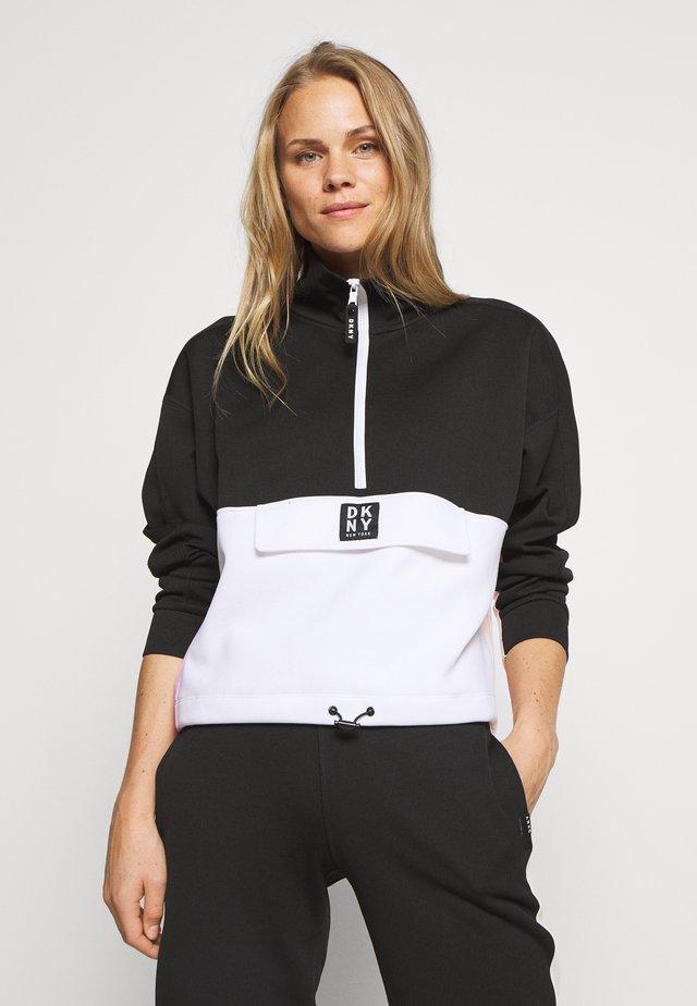 BLOCKED HALF ZIP PULLOVER - Sweatshirt - black