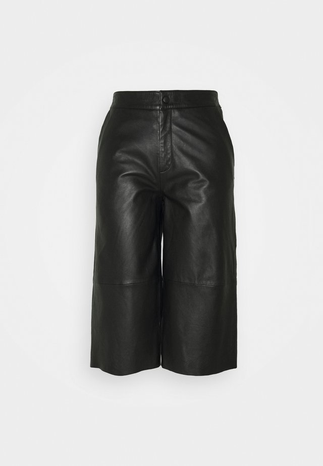 OBJVIOLA L CULOTTE - Leather trousers - black