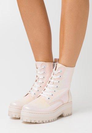 BOOTS - Platform ankle boots - powder