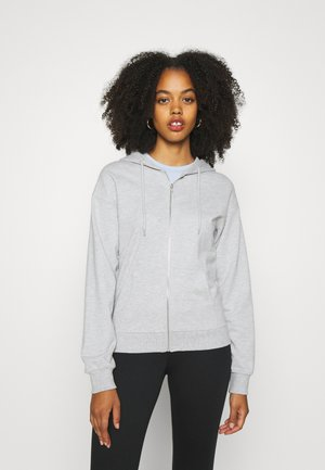REGULAR FIT ZIP UP HOODIE JACKET - Zip-up hoodie - mottled light grey