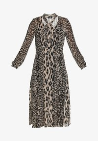 Wallis - NEUTRAL ANIMAL TIE NECK MIDI DRESS - Day dress - stone - 5