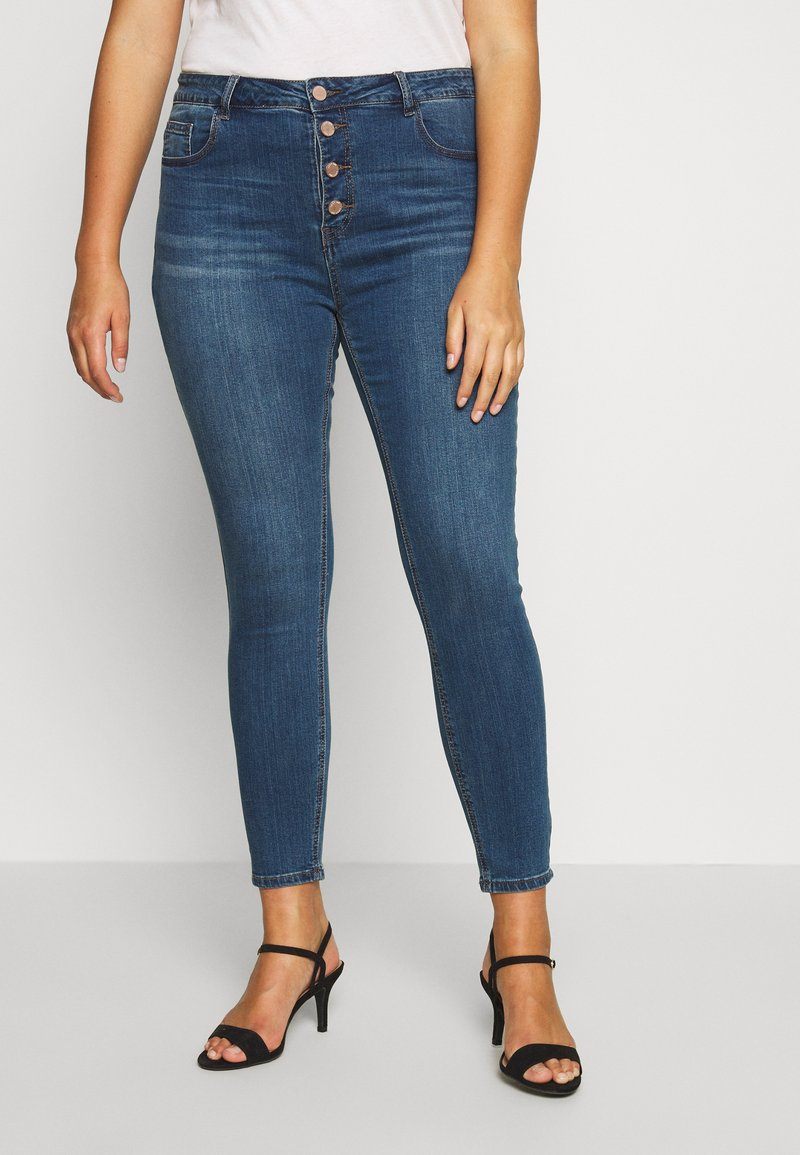 Lost Ink Plus - BUTTON FLY - Jeans Skinny Fit - denim