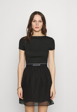 LOGO WAISTBAND DRESS - Jersey dress - black