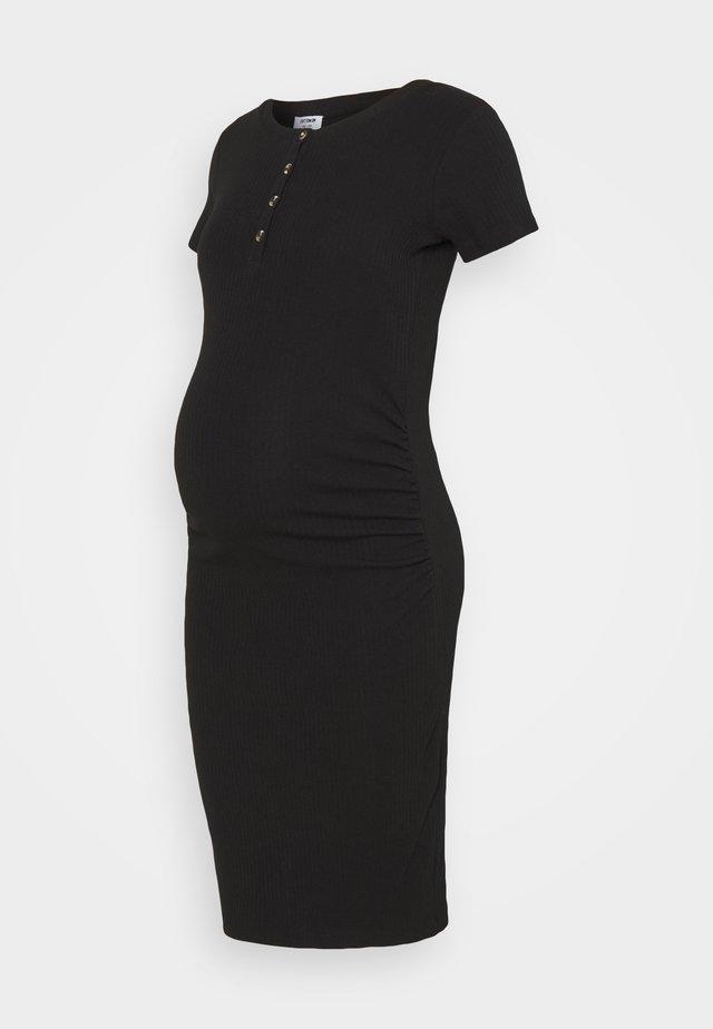 MATERNITY ROUCHED SHORT SLEEVE DRESS - Jerseyjurk - black