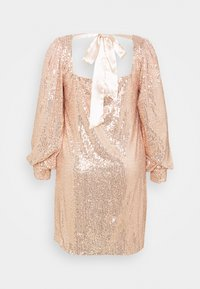 Missguided Plus - BALLOON SLEEVE TIE BACK SEQUIN DRESS - Cocktail dress / Party dress - gold - 1