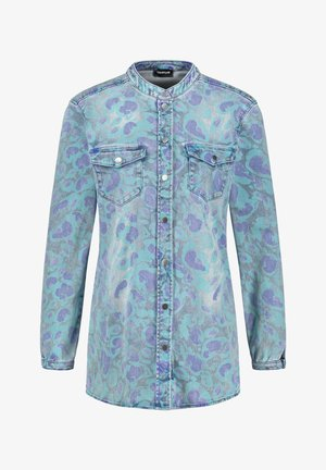 Button-down blouse - blue denim gemustert