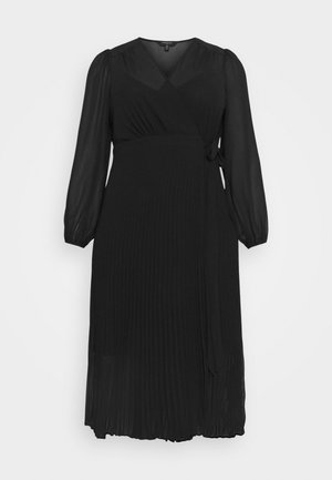 PENELOPE PLEATED WRAP DRESS - Day dress - black