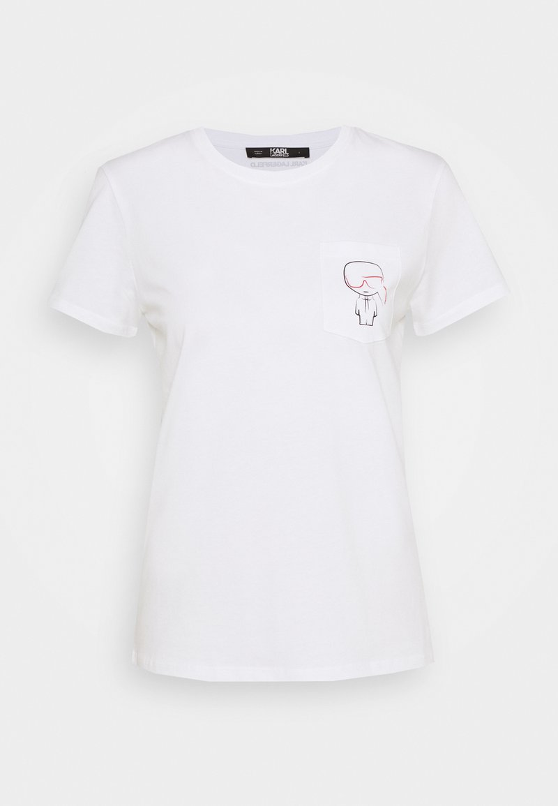 KARL LAGERFELD - IKONIK OUTLINE POCKET TEE - Print T-shirt - white