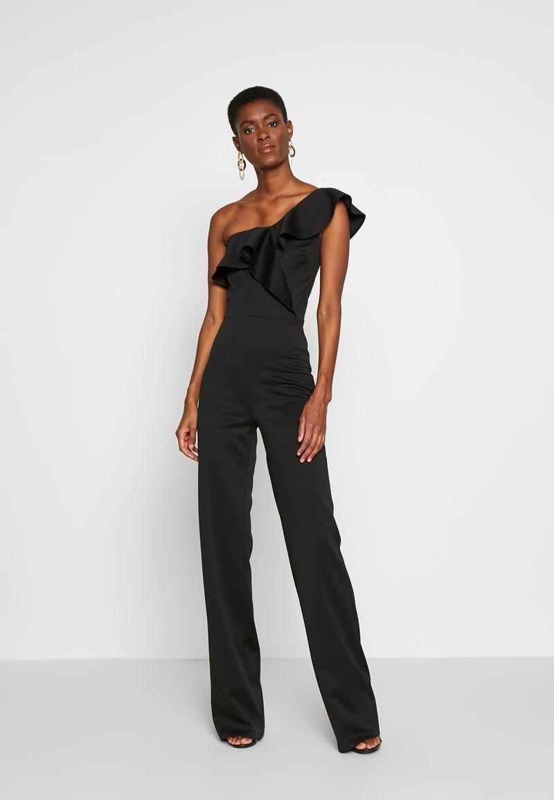 True Violet Tall - FRILL ONE SHOULDER - Tuta jumpsuit - black