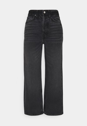 Wide Leg Cropped jeans - Jeansy Straight Leg - black denim