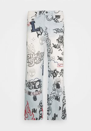 SCRIBBLE GRAFFITI SKATE JEANS - Jeansy Relaxed Fit - blue