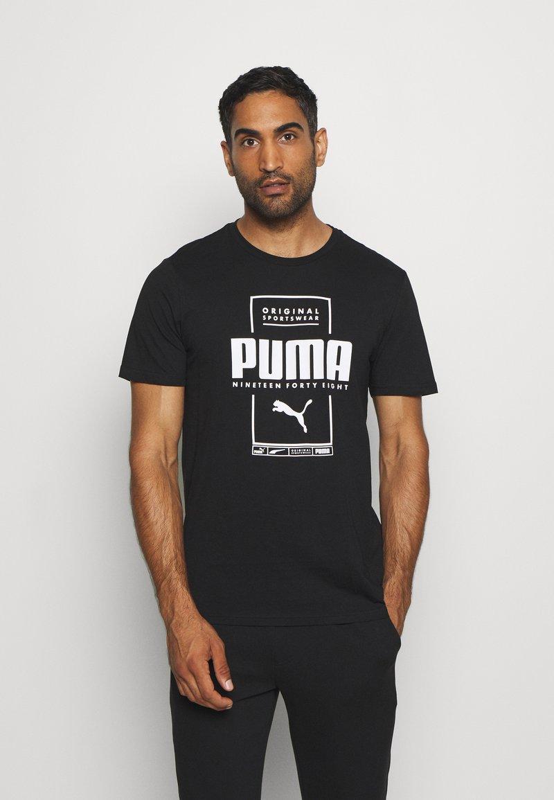 Puma - BOX TEE - Print T-shirt - black