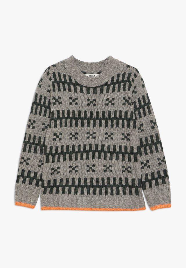 REYKJAVIK KELDINO - Strickpullover - grey melange/green/neon orange