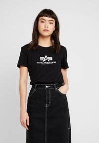 Alpha Industries - NEW BASIC - Print T-shirt - black - 0