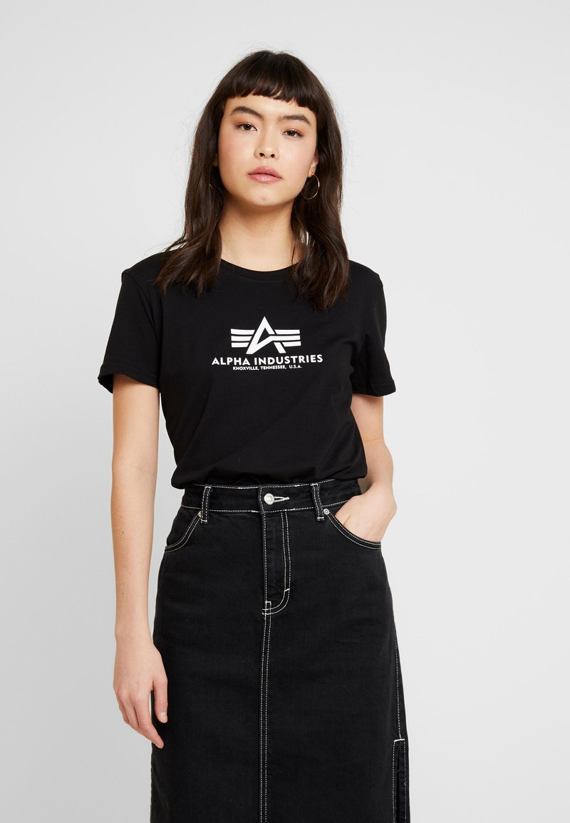 Alpha Industries - NEW BASIC - Print T-shirt - black