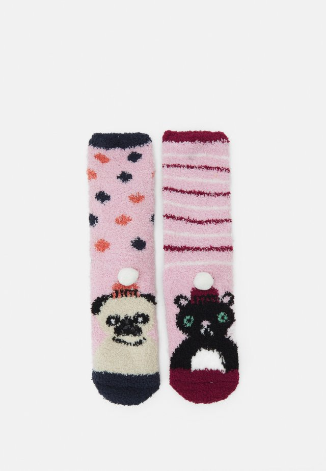 PUG AND CAT FLUFFY SLIPPER SOCKS 2 PACK - Strumpor - multi-coloured