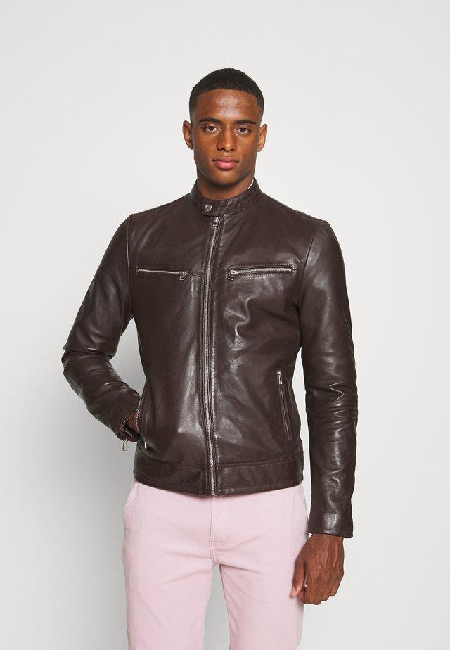 KYLL BIKER - Leather jacket - brick red