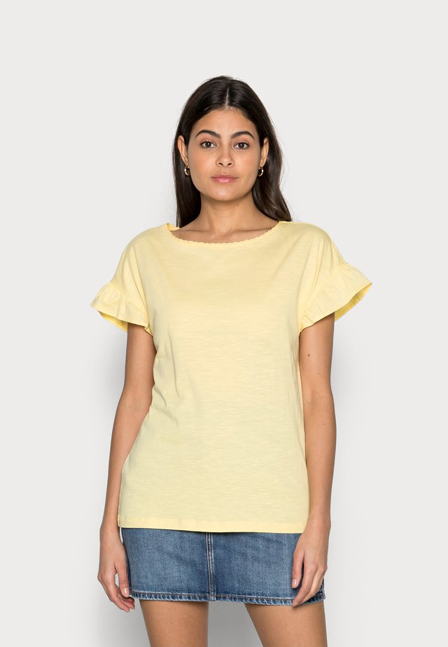 SLUB FRILL - T-shirt basic - light yellow