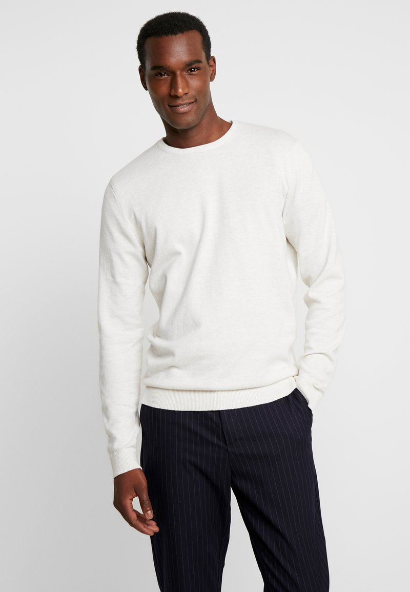 Selected Homme - SLHTOWER CREW NECK  - Svetr - white melange
