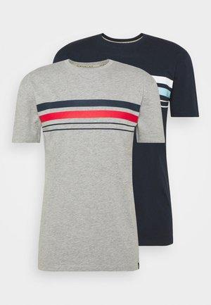 CHEST STRIPE 2 PACK - T-shirt med print - navy/grey marl