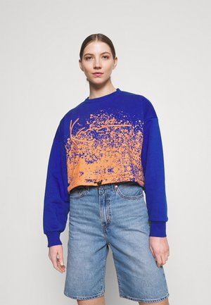 SIGNATURE CROPPED PAINT SPLATTER CREW - Sweatshirt - blue