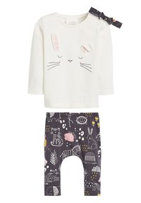 Next - PINK/GREY CHARACTER 3 PIECE SET (0MTHS-2YRS) - Leggings - Trousers - off-white - 0