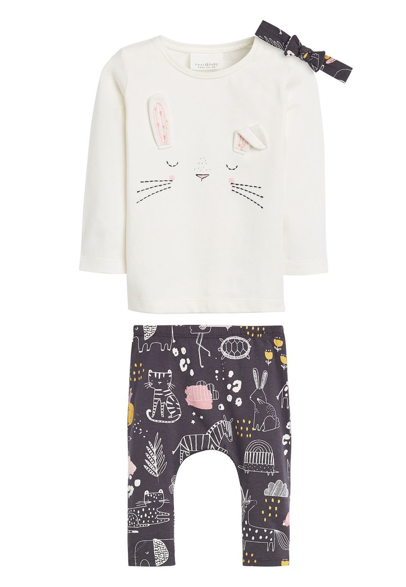 Next - PINK/GREY CHARACTER 3 PIECE SET (0MTHS-2YRS) - Leggings - Trousers - off-white