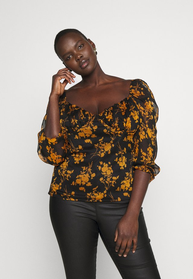 MILKMAID LONG SLEEVE TOP DARK FLORAL PRINT - Camicetta - black