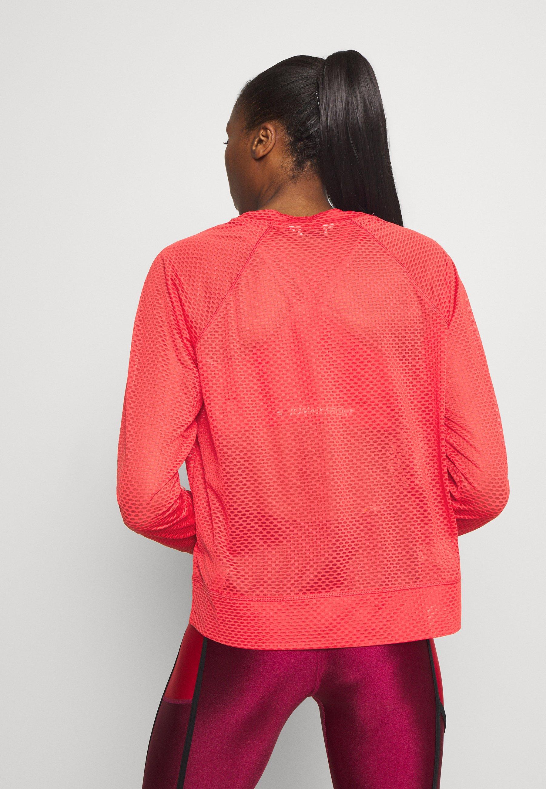 DKNY HONEYCOMB CREW NECKLONG SLEEVE PULL OVER - Long sleeved top - radiant red jJ5Nv