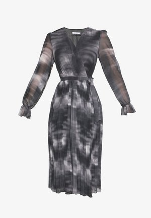 TIE DYE MIDI PLEATED DRESS - Day dress - black