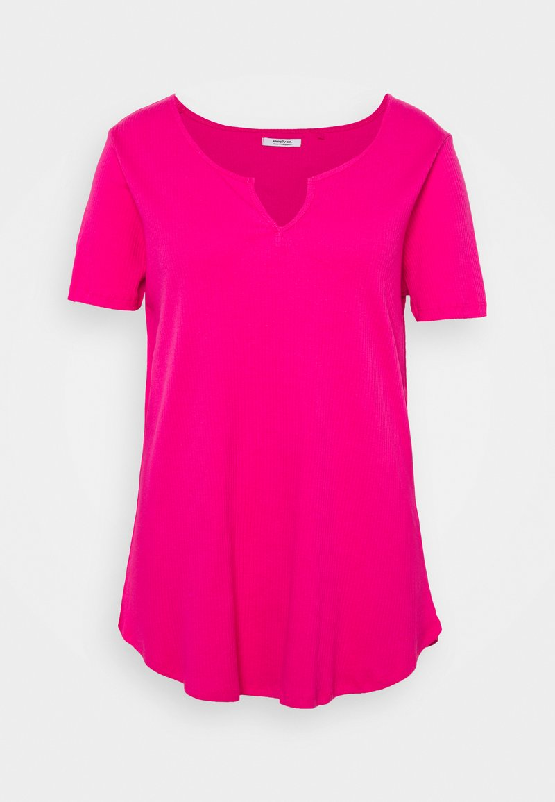 Simply Be - NOTCH FRONT TUNIC - T-shirt basique - pink