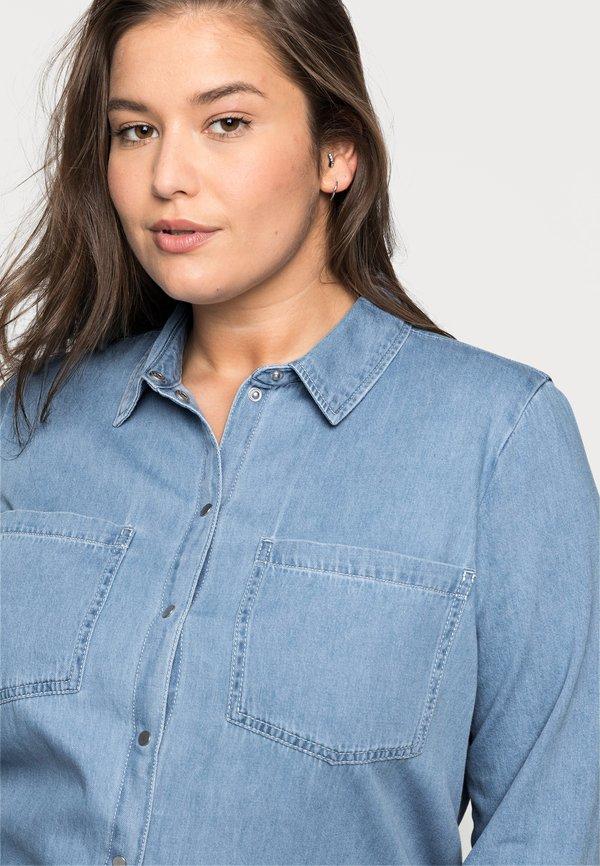 Vero Moda Curve VMMILA LONG - Koszula - light blue/jasnoniebieski BUZI