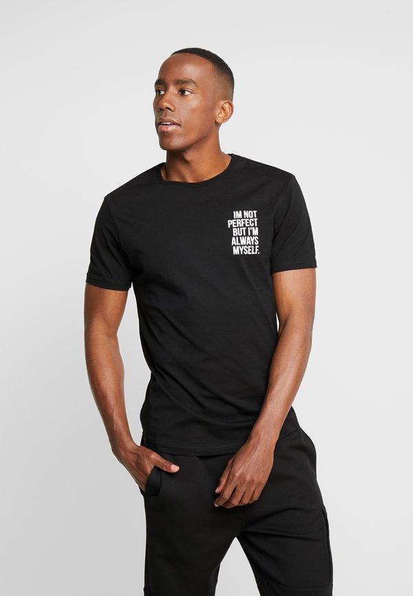 Pier One T-shirt z nadrukiem - black/czarny Odzież Męska XFKL