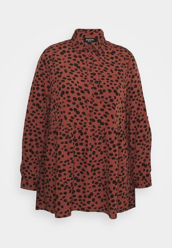DIPPED BACK TUNIC - Button-down blouse - rust