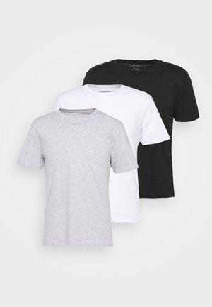 ESSENTIAL TEE 3 PACK - T-shirt basic - white/black/light grey marle