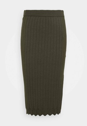 VIOLIVI KNIT RIB MIDI SKIRT - Pencil skirt - forest night/melange