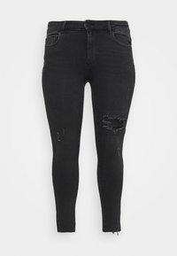 ONLY Carmakoma - CARRUSH LIFE REG SK ANK RAW - Jeans Skinny Fit - black denim - 5