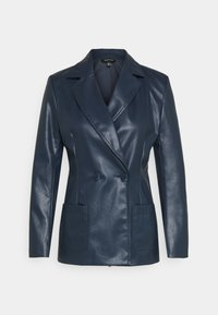 Who What Wear - 70S FITTED JACKET - Faux leather jacket - dark navy - 4