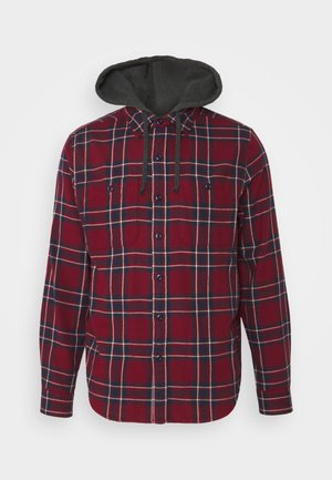 HOODED PLAID - Skjorta - burgundy