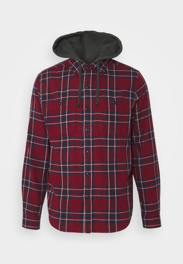 HOODED PLAID - Overhemd - burgundy