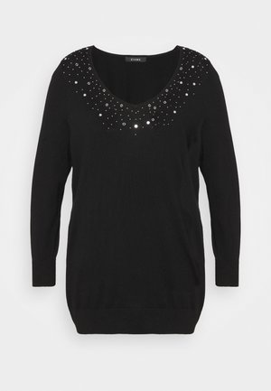 EMBELISHED VNECK JUMPER - Jumper - black