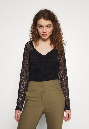GATHERED FRONT LACE BODYSUIT - Long sleeved top - black