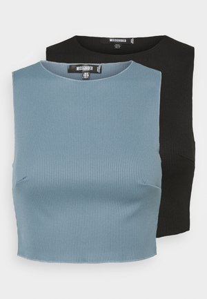 RACER NECK CROP 2 PACK - Linne - black/blue