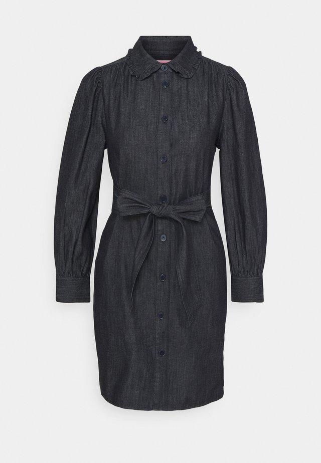 RUFFLE DRESS - Denim dress - indigo