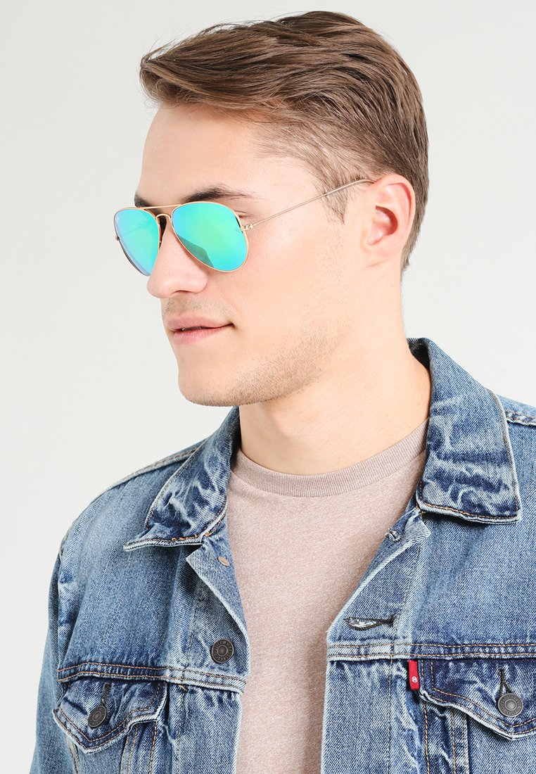 Ray-Ban - AVIATOR - Sunglasses - goldfarben/grün