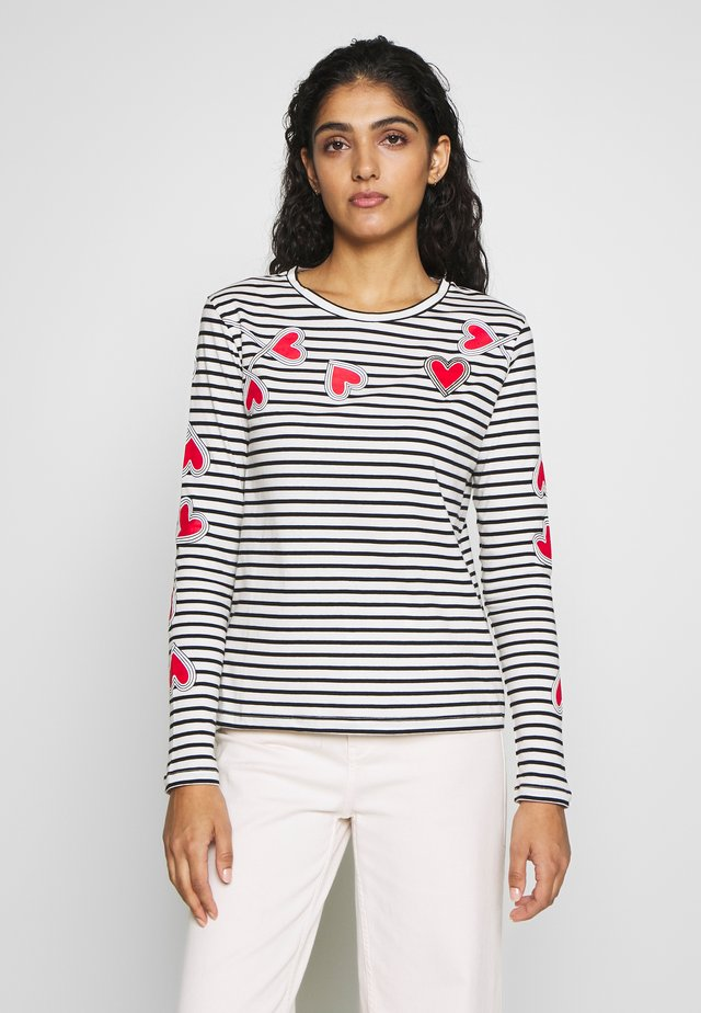 ANNI HEART - Long sleeved top - ivory/black