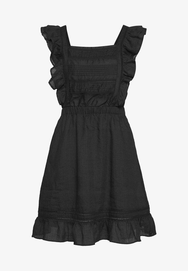 SUMMER DRESS WITH PINTUCKS AND RUFFLES - Vapaa-ajan mekko - black