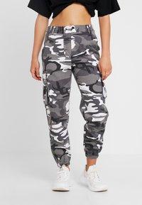 New Look Petite - CAMO UTLITY CUFF - Trousers - black - 0