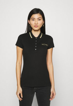 SLIM GOLD SCRIPT - Koszulka polo - black