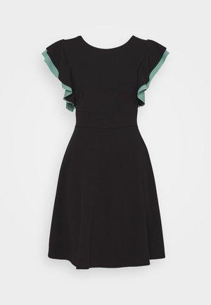 BRAELYNN CONTRAST SLEEVE SKATER DRESS - Jersey dress - black/sage green